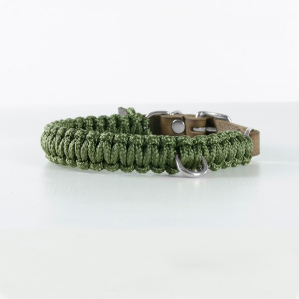 Molly & Stitch - Halsband Leder Military silber
